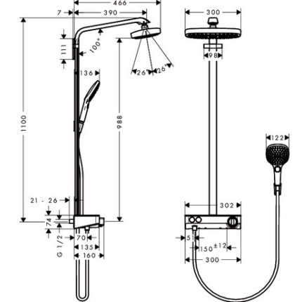 Showerpipe Hansgrohe Raindance Select E 300 cu 2 jeturi si butoane tip Touch