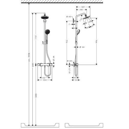 Coloana de dus Hansgrohe Croma 160 cu baterie termostatata, crom