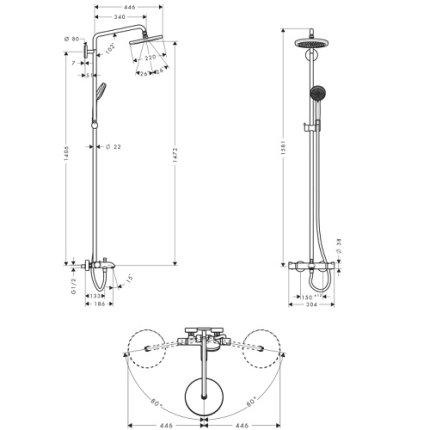 Showerpipe Hansgrohe Croma 220 cu termostat