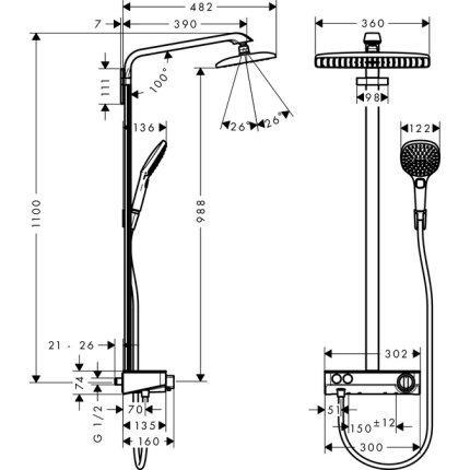 Showerpipe Hansgrohe Raindance Select E 360 crom 1 jet ST cu baterie dus termostatata