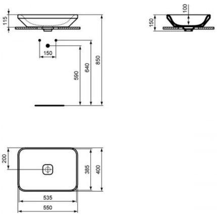 Lavoar tip bol Ideal Standard Tonic II 55cm, montare pe blat