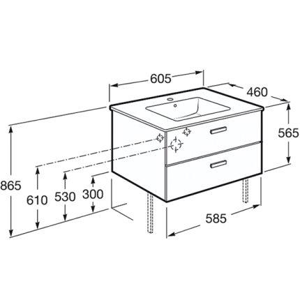 Set mobilier Roca Victoria Basic dulap baza cu 2 sertare 60x45cm nuc si lavoar