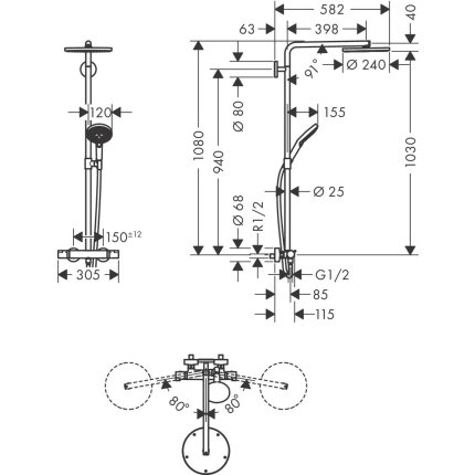 Coloana de dus Hansgrohe Raindance Select S 240 PowderRain 1jet cu baterie termostatata, bronz periat
