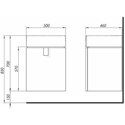 Set mobillier Kolo Twins 50cm cu lavoar si dulap baza cu o usa alb lucios