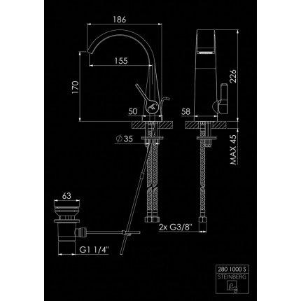 Baterie lavoar Steinberg Seria 280 Matt Black, ventil pop-up