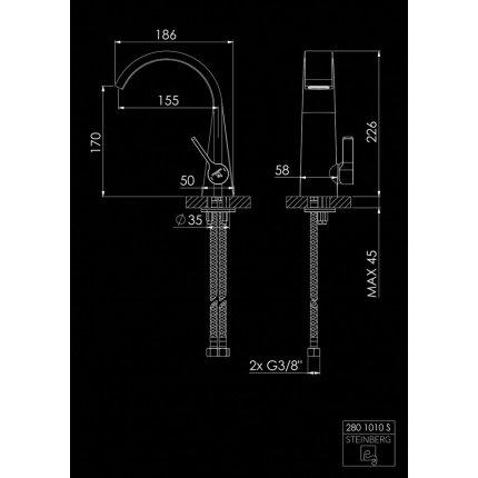 Baterie lavoar Steinberg Seria 280 Matt Black, fara ventil