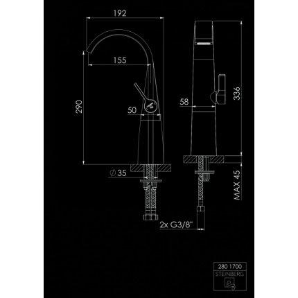 Baterie lavoar Steinberg Seria 280 Matt Black pentru lavoare tip bol, ventil pop-up