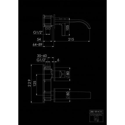Baterie lavoar Steinberg Seria 280 Matt Black, 215mm, montaj incastrat, necesita corp ingropat 010 1800