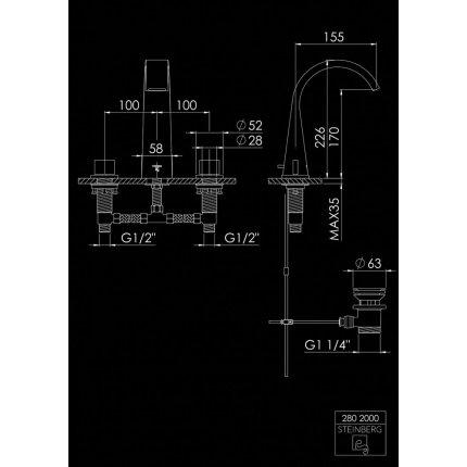 Baterie lavoar Steinberg Seria 280 Matt Black, din 3 elemente, ventil pop-up
