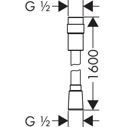 Furtun dus Hansgrohe Isiflex 1.6m, volume control, crom