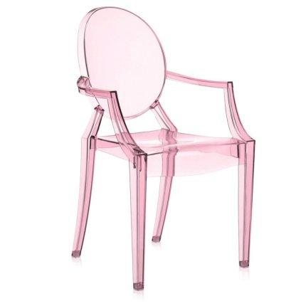 Scaun copii Kartell Lou Lou Ghost design Philippe Starck, roz transparent