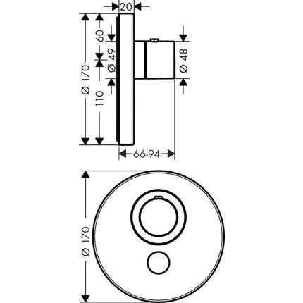 Baterie dus termostatata Hansgrohe Axor Uno Select, montaj incastrat, necesita corp incastrat