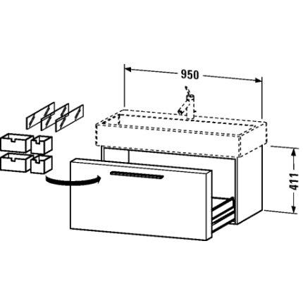 Dulap baza Duravit Fogo 95x44.5cm, sertar cu inchidere lenta, nuc