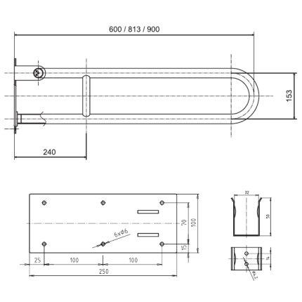 Bara reversibila de sustinere U 81.3 cm Bemeta Help crom lucios