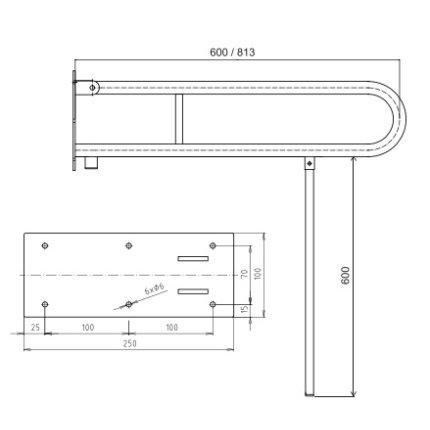 Bara reversibila de sustinere U 81,3 cm Bemeta Help alb cu suport de sprijin