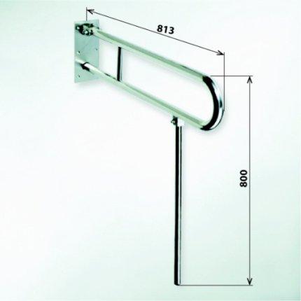 Bara reversibila de sustinere U 60 cm Bemeta Help alb cu suport de sprijin
