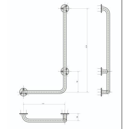 Bara ajutatoare contraforta dreapta pentru perete 63x89x11cm Bemeta Help crom lucios