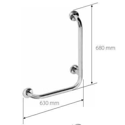 Bara ajutatoare contraforta dreapta pentru perete 68x63cm Bemeta Help crom mat