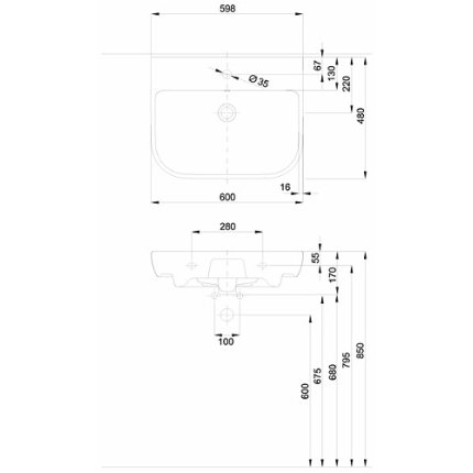 Lavoar Kolo Traffic 60cm, glazura Reflex