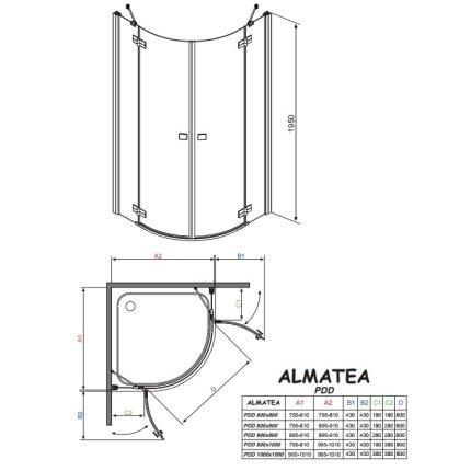 Cabina de dus semirotunda asimetrica Radaway Almatea PDD 100x80cm