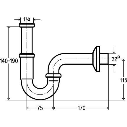 Sifon simplu pentru lavoar Viega 32mm, alama cromata