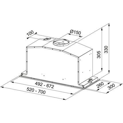 Hota incorporabila Franke FBI 547 XS NP Box, 52cm, 660m3/h, inox satinat