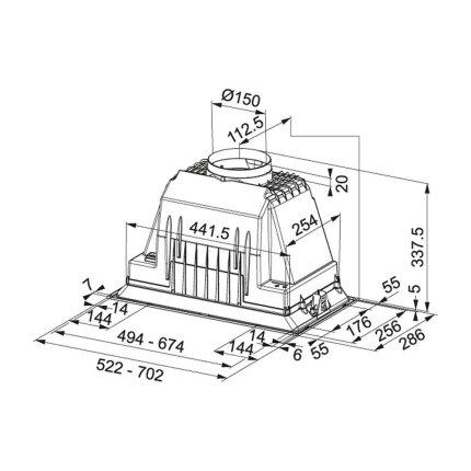 Hota incastrabila Franke Box FBI 525 Plus, 590 m3/h, 52cm, inox satinat