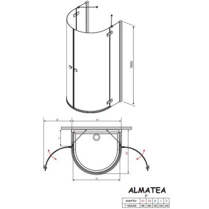 Cabina de dus semirotunda Radaway Almatea P 100x90cm