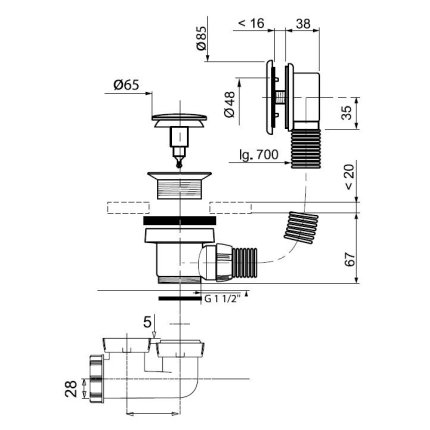 Cada rectangulara Besco Modern 140x70 complet echipata cu panouri si sifon Wirquin PRO push-open