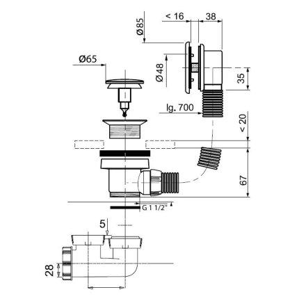 Cada rectangulara Besco Modern 150x70 complet echipata cu panouri si sifon Wirquin PRO push-open