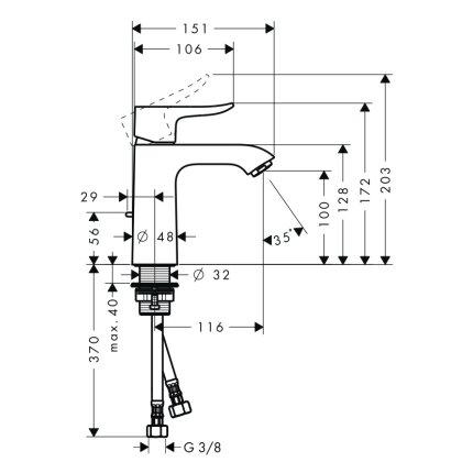 Baterie lavoar Hansgrohe Metris 110, ventil pop-up, crom