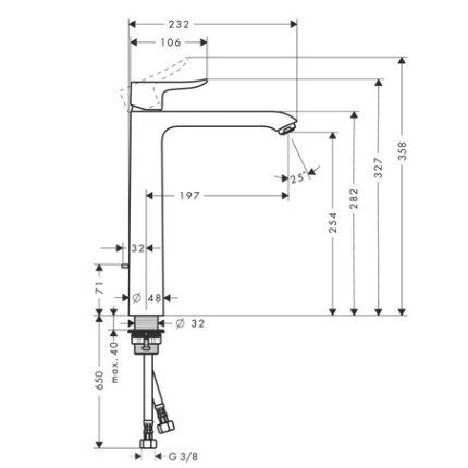 Baterie lavoar Hansgrohe Metris 260, ventil pop-up, pentru lavoar tip bol, crom