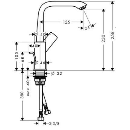 Baterie lavoar Hansgrohe Metris 230, ventil pop-up, crom