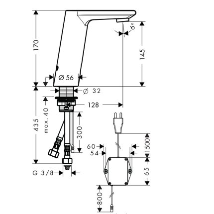 Baterie lavoar Hansgrohe Metris S electronica, alimentare la retea, fara ventil, crom