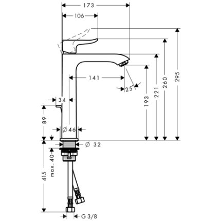 Baterie lavoar Hansgrohe Metris 200, ventil pop-up, pentru lavoar tip bol, crom EXPUS