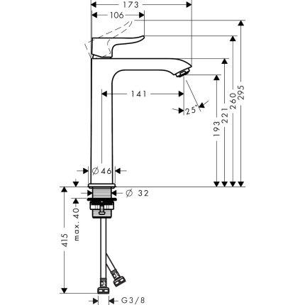 Baterie lavoar Hansgrohe Metris 200, pentru lavoar tip bol, crom