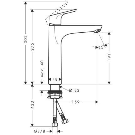 Baterie lavoar Hansgrohe Focus 190 pentru lavoar tip bol, fara ventil, crom