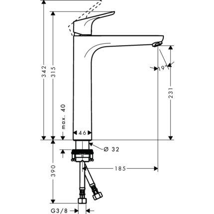 Baterie lavoar Hansgrohe Focus 230 pentru lavoar tip bol, fara ventil, crom