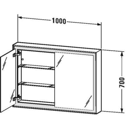 Dulap cu oglinda Duravit L-Cube 1000, cu iluminare LED si 2 rafturi sticla