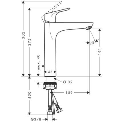 Baterie lavoar Hansgrohe Focus 190, ventil pop-up, pentru lavoar tip bol, crom