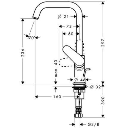 Baterie lavoar Hansgrohe Focus 240, ventil pop-up, crom