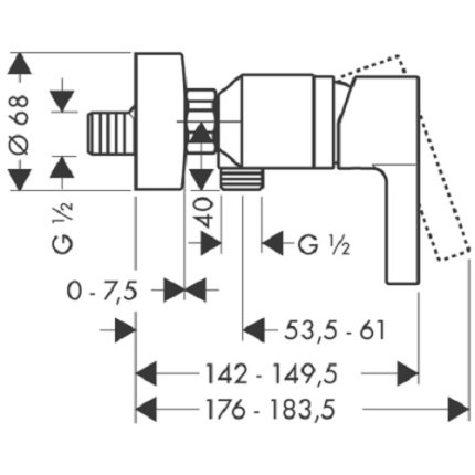 Baterie dus Hansgrohe Metris S, crom