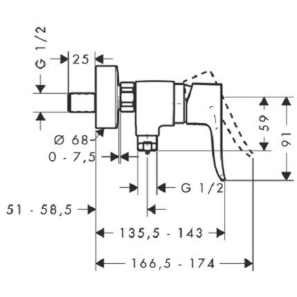Baterie dus Hansgrohe Metris , crom