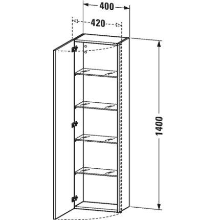Dulap inalt suspendat Duravit DuraStyle 140x40x24cm, deschidere stanga, alb mat