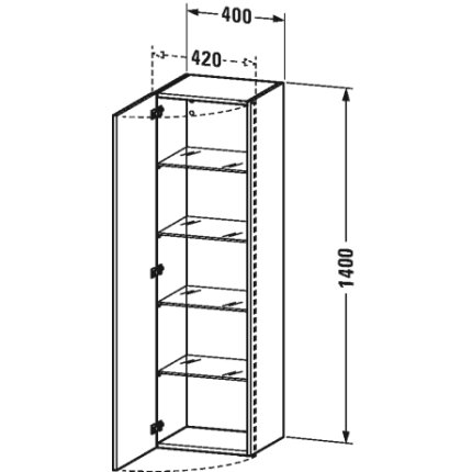 Dulap inalt suspendat Duravit DuraStyle 140x40x36cm, deschidere stanga, castan inchis