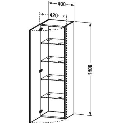 Dulap inalt suspendat Duravit DuraStyle 140x40x36cm, deschidere dreapta, taupe mat