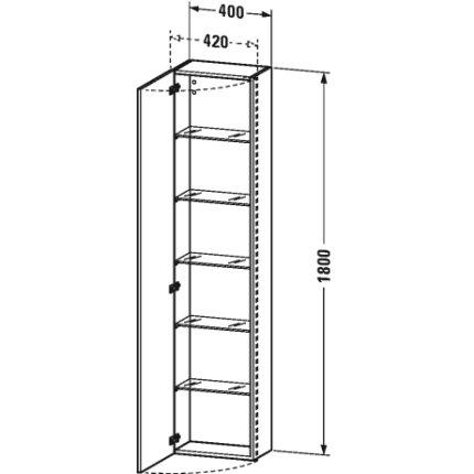 Dulap inalt suspendat Duravit DuraStyle 180x40x24cm, deschidere stanga, taupe mat