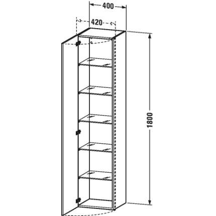 Dulap inalt suspendat Duravit DuraStyle 180x40x36cm, deschidere stanga, taupe mat