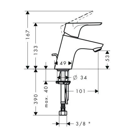 Baterie lavoar Hansgrohe Focus 70, ventil pop-up, crom