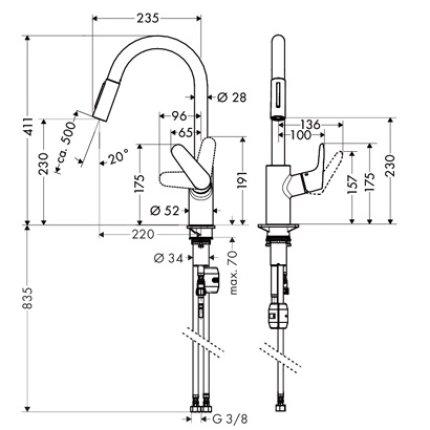 Baterie bucatarie Hansgrohe Focus 240, dus extractibil, inox optic
